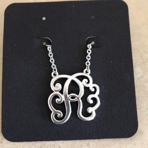 Scroll Initial R silver tone necklace